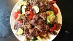Kaftakebab med grilladegrönsaker